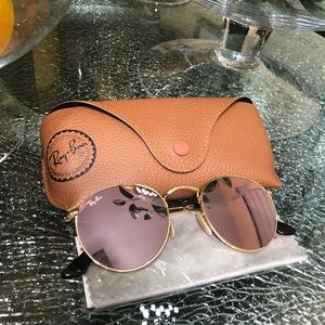 Pink Ray-Ban Sunglasses, RB3447N ROUND FLAT LENSES